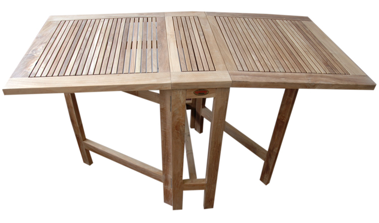 Mesa plegable 2 alas madera 65x131x74cm for Mesa jardin plegable