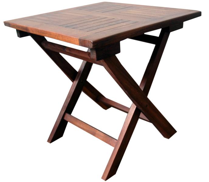 Mesa plegable en teka acabado oscuro 45 x 45 x 45 cm for Mesa plegable medidas